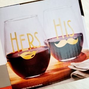 His an Hers Stemless Wine glasses